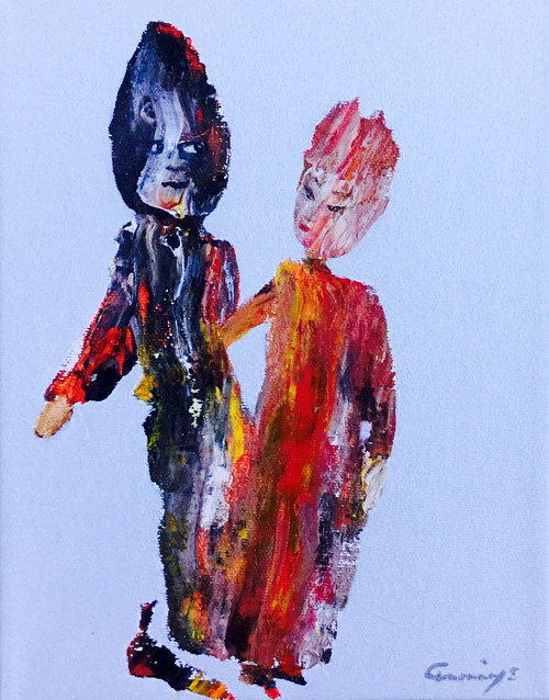 A painting with two figures composed from abstract brush strokes