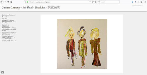A screen capture of Gaetane Cummings' art portfolio website