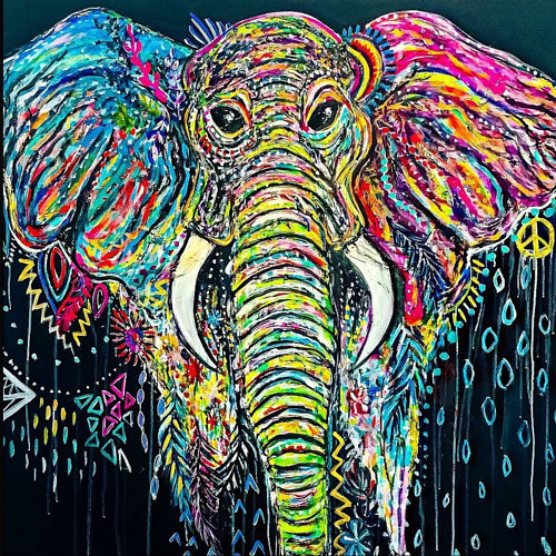 A painting of a brightly coloured elephant