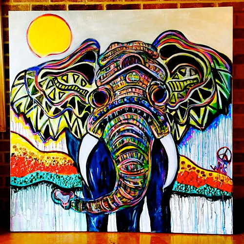 A painting of an elephant with brightly coloured line art