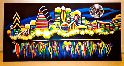 A painting of a cityscape at night made with abstract forms