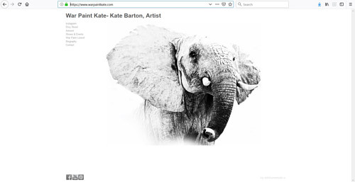 The front page of Kate Barton's art portfolio website