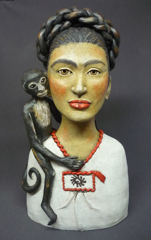 A stoneware clay bust of Frida Kahlo