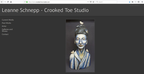 A screen capture of Leanne Schnepp's art portfolio website