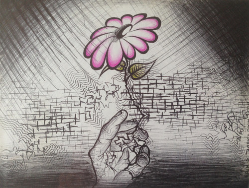 A drawing of a hand holding up a pink flower