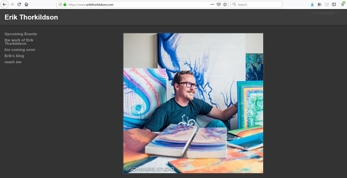 A screen capture of Erik Thorkildson's art portfolio website