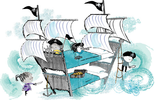 An illustration of children playing pirate ship on bunk beds