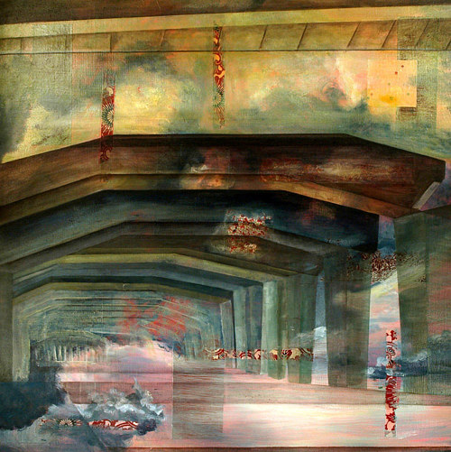 A painting of a concrete tunnel with other textural elements added