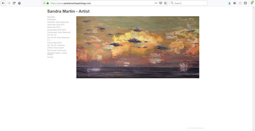 A screen capture of Sandra Martin's art portfolio website