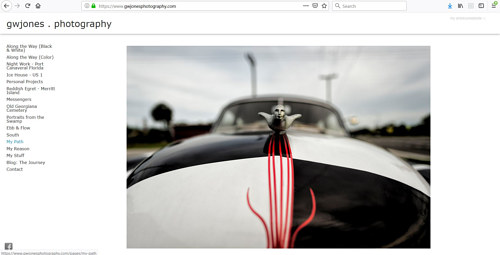 The front page of G.W. Jones' photography portfolio website