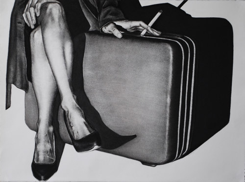 A charcoal drawing of a person sitting on a suitcase