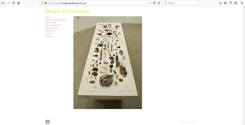 A screen capture of the front page of Morgan Wedderspoon's art portfolio website