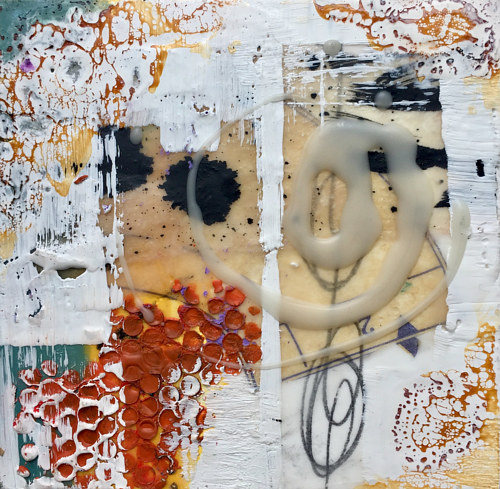 An abstract composition made with wax and collaged elements