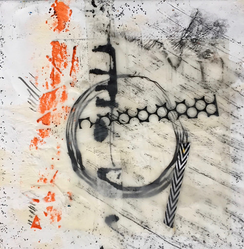An artwork made with encaustic and collaged elements