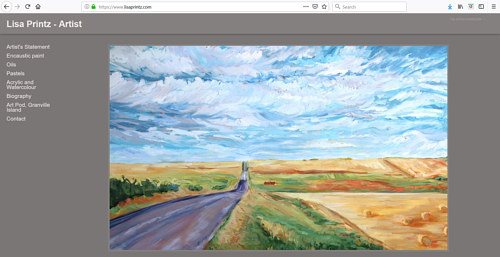 The front page of Lisa Printz' art portfolio website