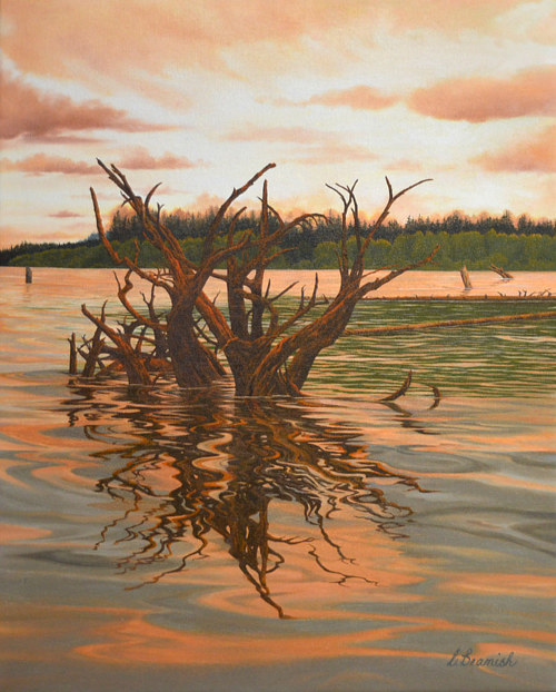 A painting of a root system sticking out of a body of water