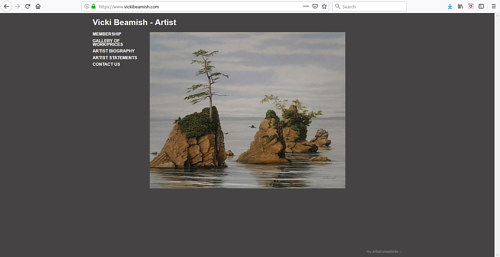 A screen capture of Vicki Beamish' art portfolio website
