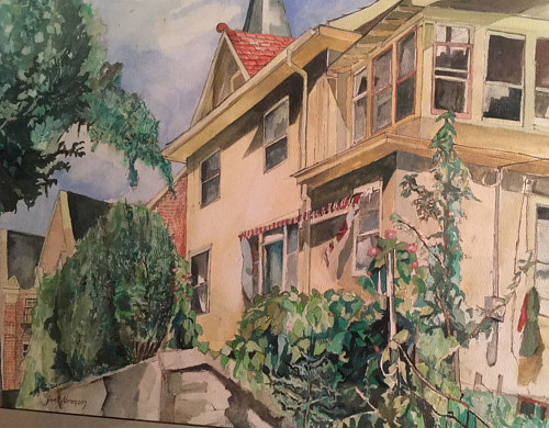 A watercolour painting of a house in Minneapolis