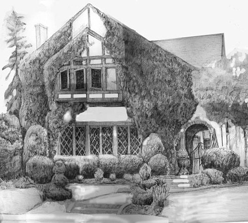 A black and white drawing of a house