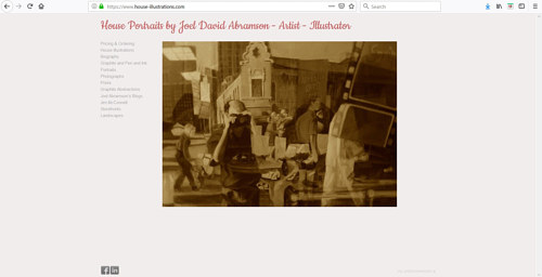 The front page of Joel David Abramson's art portfolio website