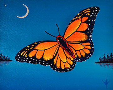 A painting of an orange butterfly on a blue background