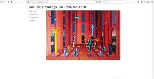 A screen capture of Jon Harris' art portfolio website