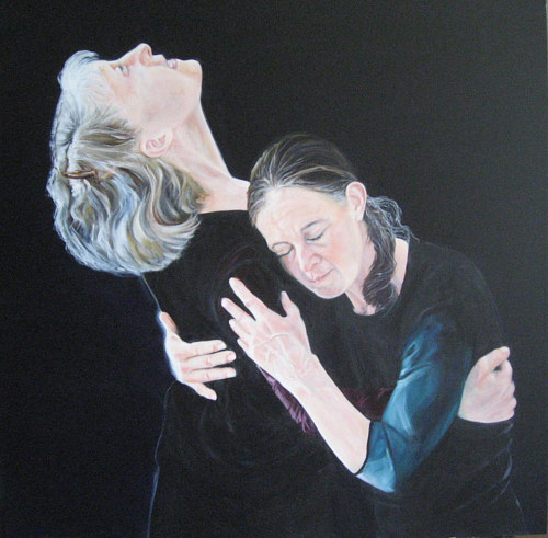 A painting of two women embracing