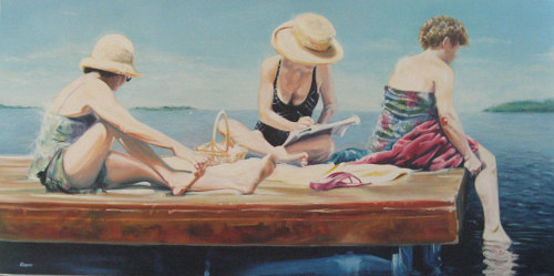 A painting of three women sitting on a dock