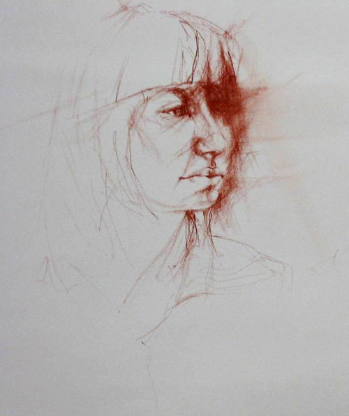 A portrait drawn in conte on watercolour paper