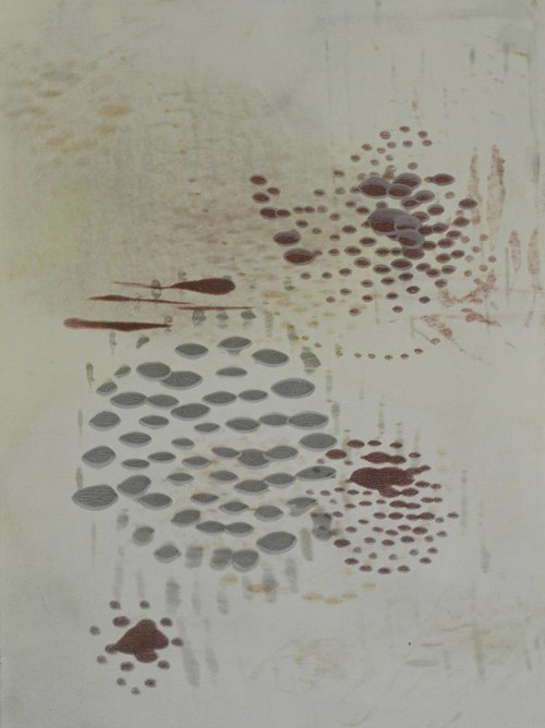 An artwork with small abstract marks on a pale background