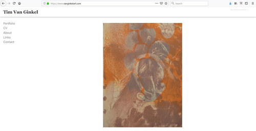 The front page of Tim Van Ginkel's art portfolio website