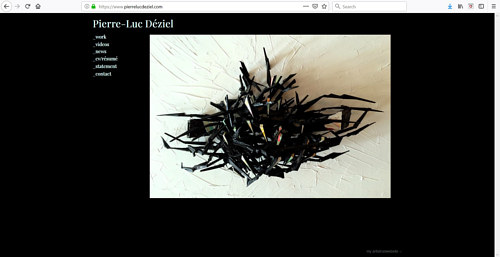 The front page of Pierre-Luc Deziel's art portfolio website