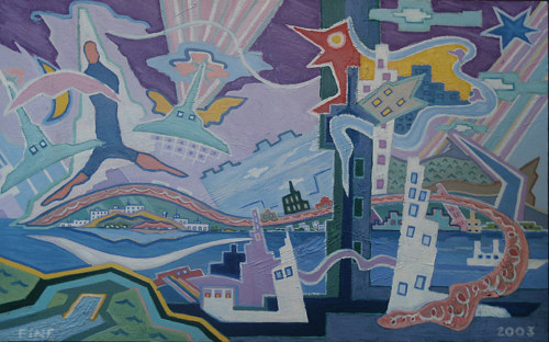 An abstracted painting of a city with a dancing figure