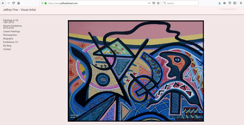 A screen capture of Jeffrey Fine's art portfolio website