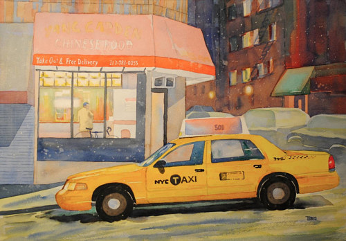 A painting of a New York City taxi in front of a restaurant