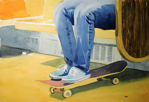 A watercolour painting of a person's legs resting on a skateboard