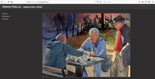 The front page of Travis Poelle's watercolour portfolio website