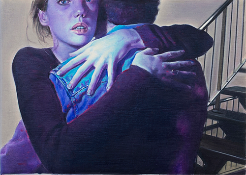A painting of a woman embracing a man while looking at the viewer