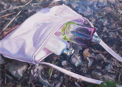 A painting of a dropped purse with perfume bottles spilling out of it
