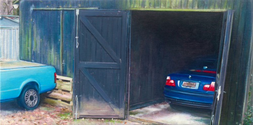 A painting of two blue vehicles parked in and near a wooden structure