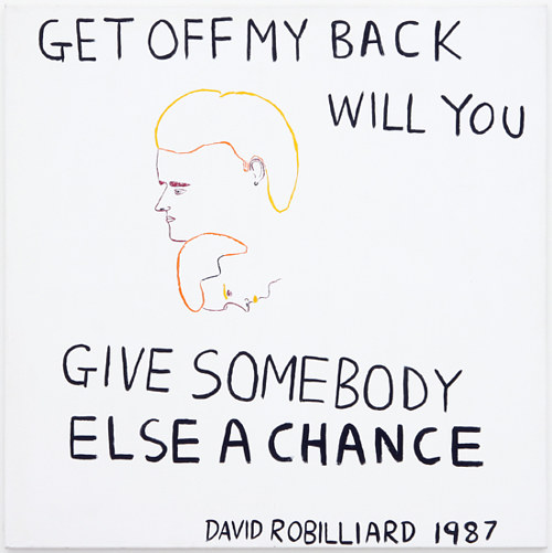 "A painting with hand-painted text reading ""Get Off My Back Will You"""