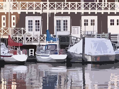 An acrylic painting of boats docked near a clubhouse