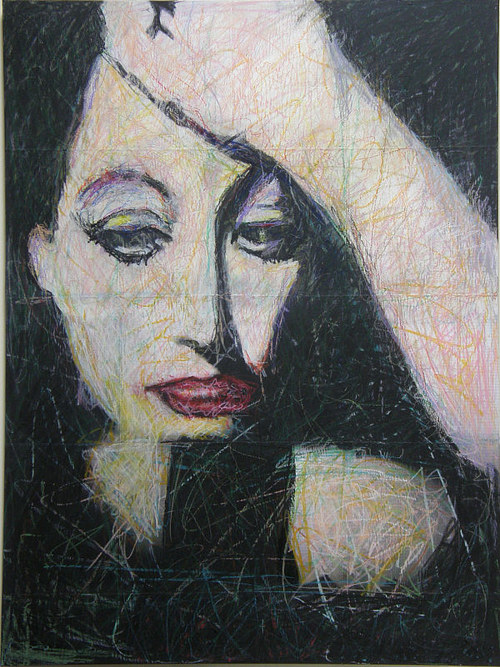 A dark painting of a woman textured with lines