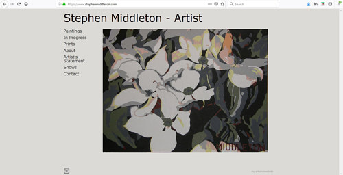 The front page of Stephen Middleton's art portfolio website