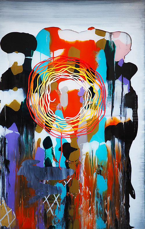An abstract painting with highly saturated colours on plexiglass