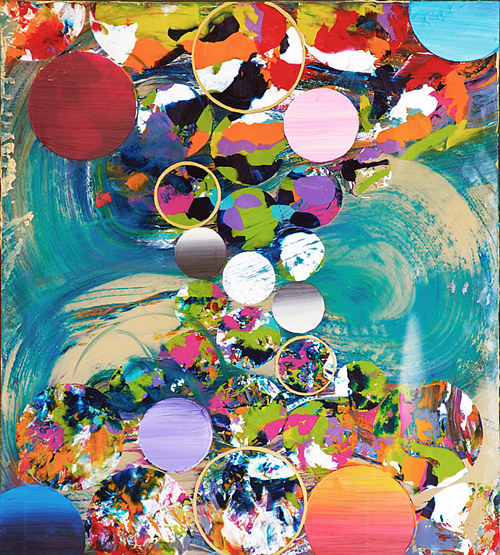 An abstract painting with bright colours and circular forms overlapping
