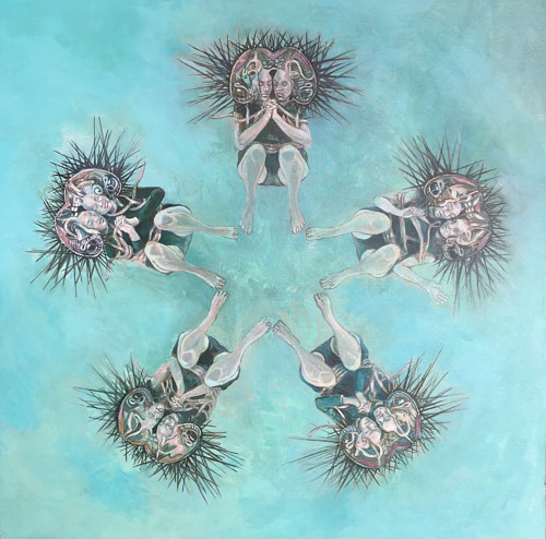 A painting of figures merged with plankton-like forms