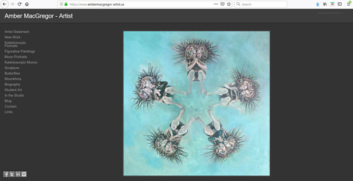 A screen capture of Amber MacGregor's art portfolio website