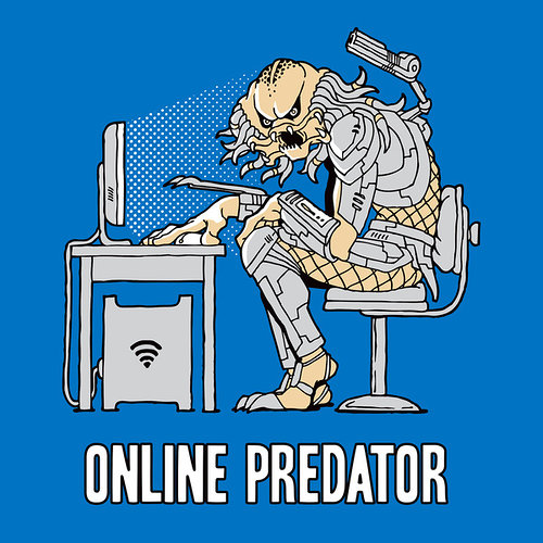 Illustration of alien character in front of computer