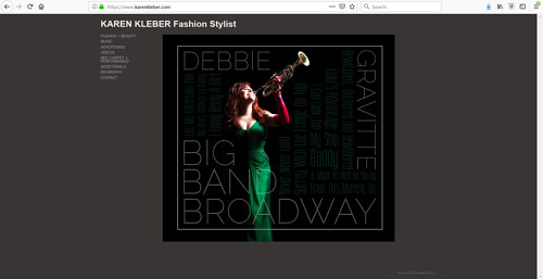 The front page of Karen Kleber's art portfolio website